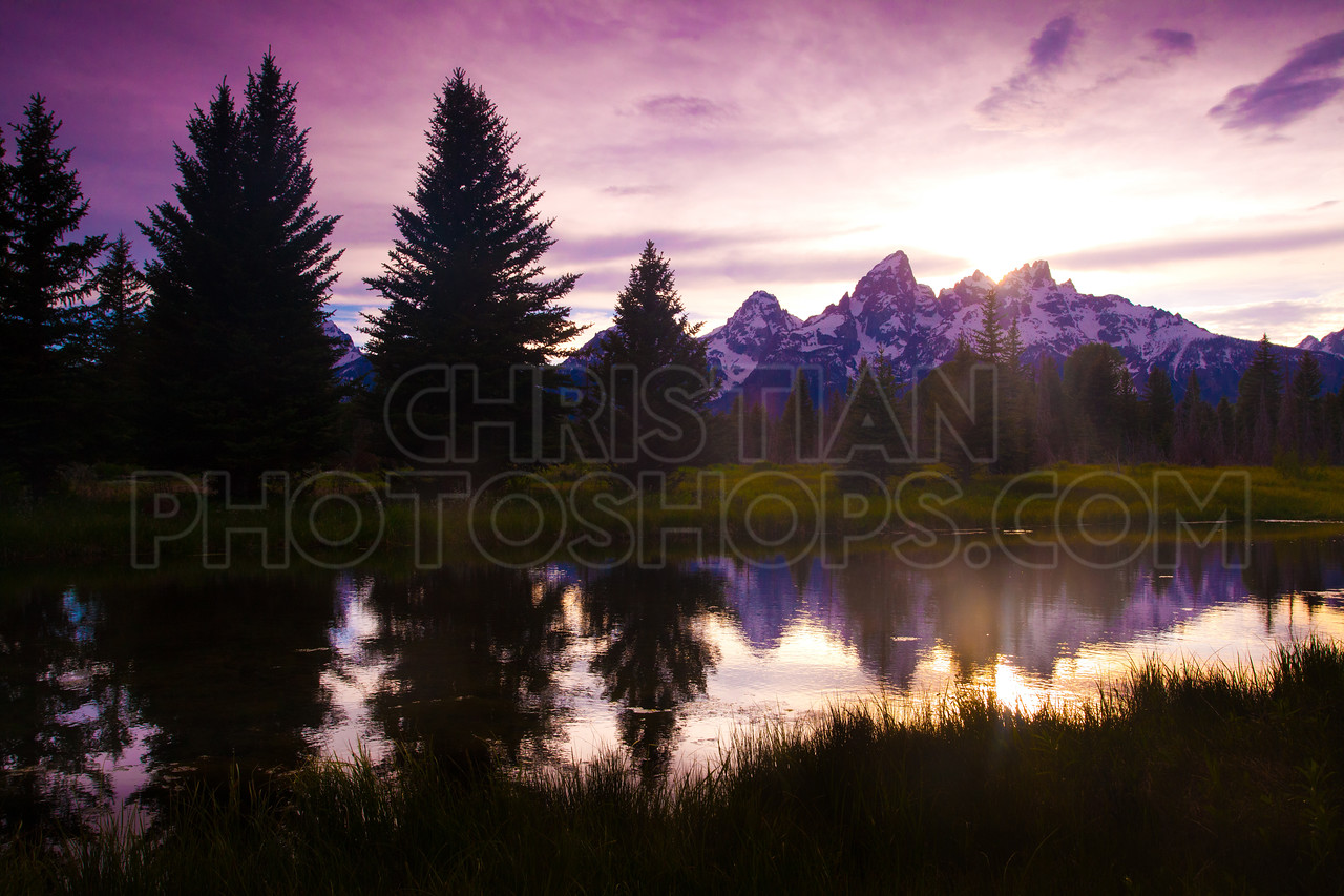 Sunset at the Grand Tetons