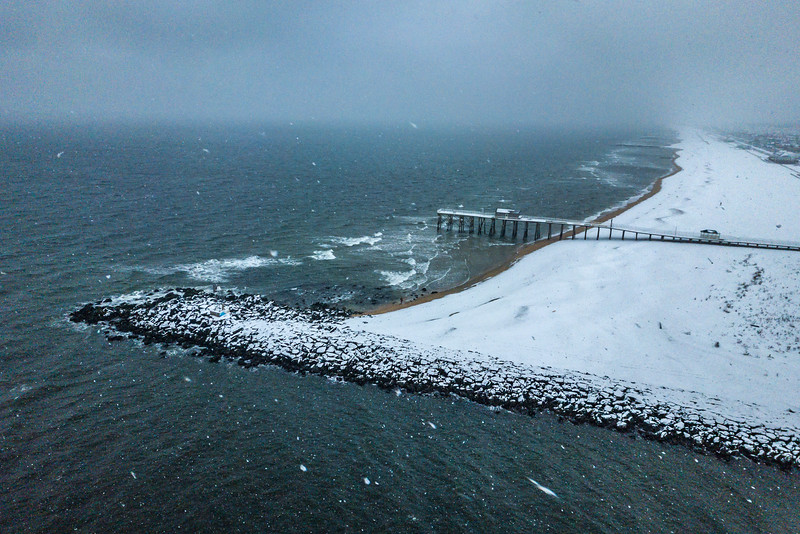 Snow Over Belmar Pier and Jetty 2/20/19