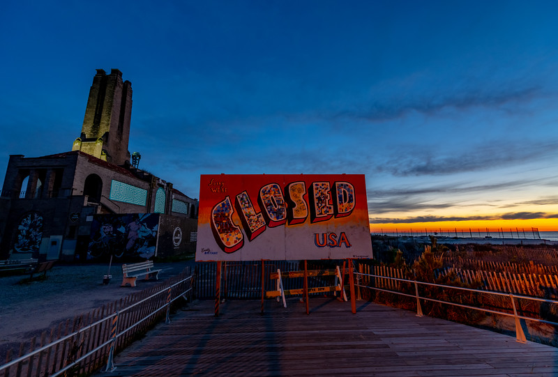 Predawn Colors Over Closed Sign To Asbury Park 5/5/20