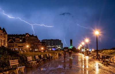 A Lightning Strike Over Ocean Grove Boardwalk and Asbury Park 6/2/19