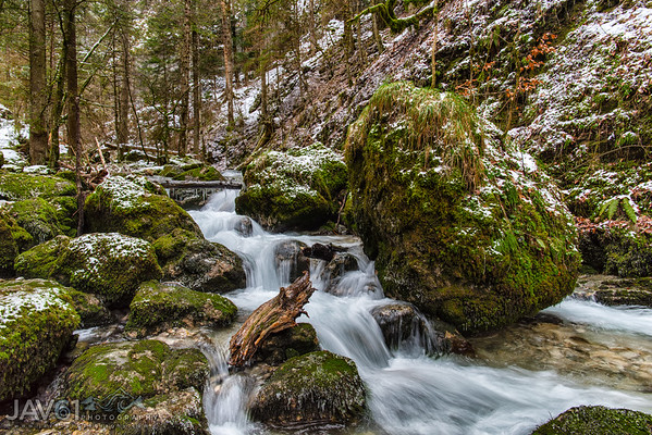 Bruyant mountain stream in the French Vercors mountain range