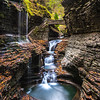 A Panorama of Rainbow Falls in Watkins Glen State Park, NY 10/16/17
