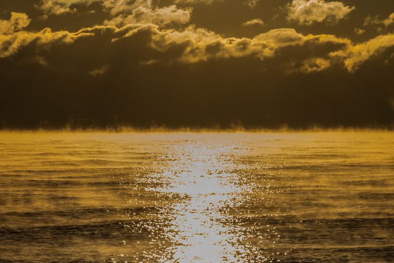 Frigid Sunrise with Sea Smoke 1/7/18