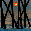 Sunrise Through Pier Poles On Belmar Beach 7/8/20
