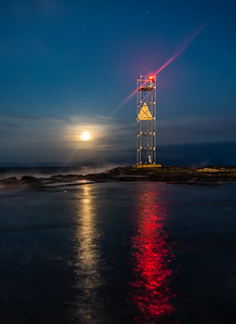 Cloudy Full Moon Rising Over Shark River Inlet Jetty 8/16/19