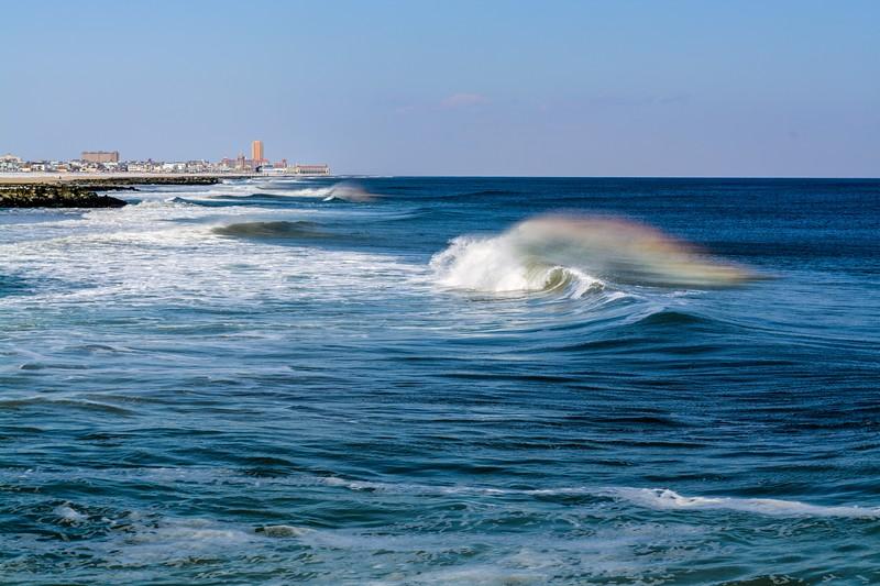 Rainbow Behind Wind Blown Wave, Avon-By-The-Sea, NJ