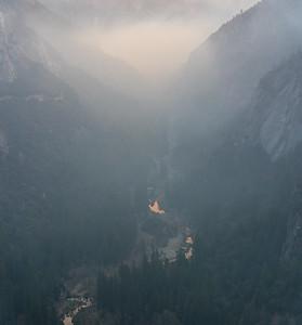 Smoky sunrise in Yosemite