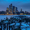 Predawn Blue Hour Over Pier Remnants and Midtown Manhattan 2/23/19