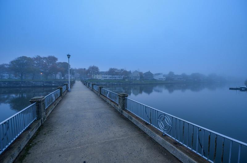 Foggy Morning On Bridge at Wesley Lake, Ocean Grove, NJ