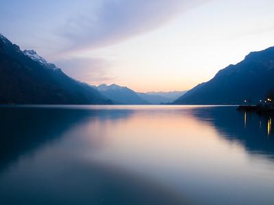 sunset at Brienzersee lake, Interlaken, Switzeland