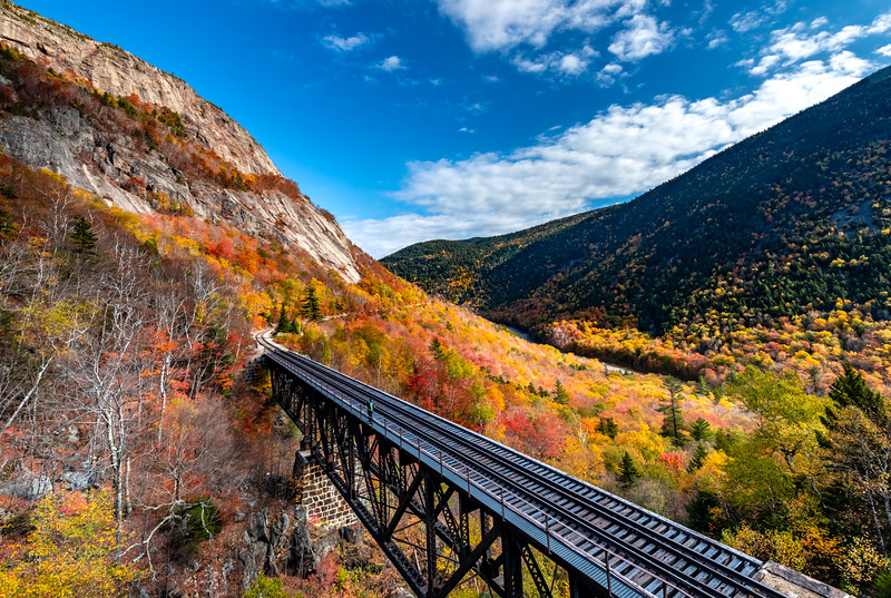 Autumn Foliage Around Railway Trestle Bridge In Crawford Notch, White Mountains, NH 10/5/20