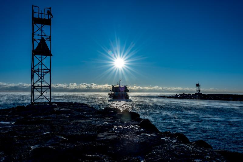Frigid Sunrise with Sea Smoke at Shark River Inlet 1/7/18