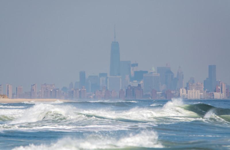 View of Ocean & New York City from Sandy Hook Beach 4/17/16