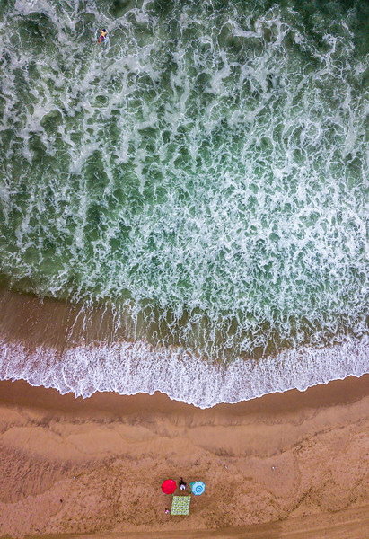 An Aerial View Of Green Ocean Waves From Hurricane Henri 8/21/21