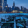 Predawn Blue Hour Over Pier Remnants and Empire State Building 2/23/19