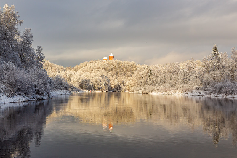 Winter scene with ancient Turaida castle in Sigulda in Latvia