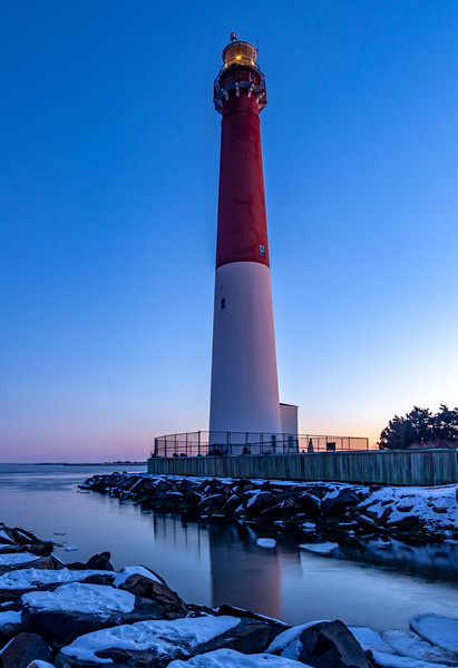 Predawn Over Snow-Covered Rock Jetties At Barnegat Lighthouse 2/3/19