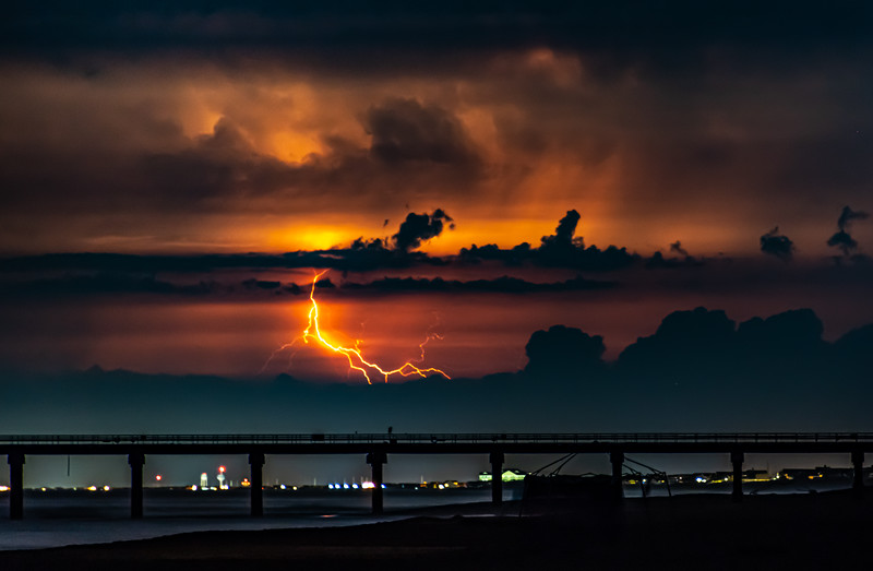 Lightning Strike Over Ocean Pier In Duck, NC 7/29/20