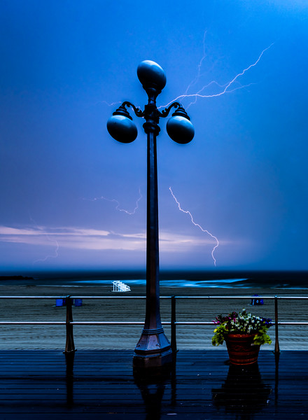 Lightning Over The Ocean From Avon-by-the-Sea Boardwalk 6/25/19