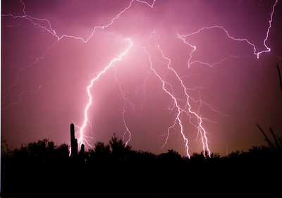 Monsoon lightning in the desert.