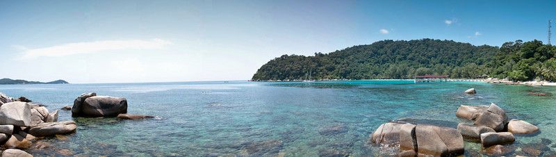 Perhentian Island panorama, 9 images, DSC_0820 - DSC_0828 - 13572x3833