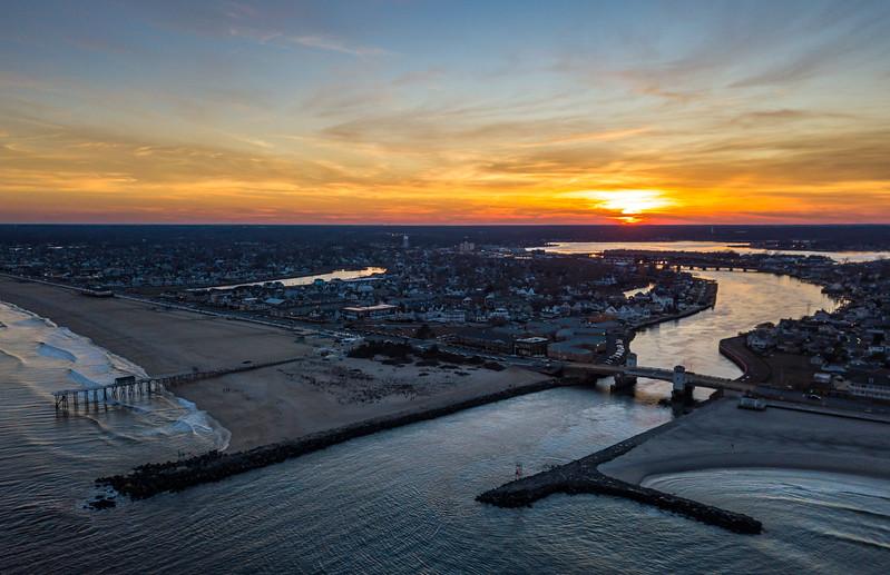 Fiery Sunset Over Belmar and Shark River Innet 2/18/18