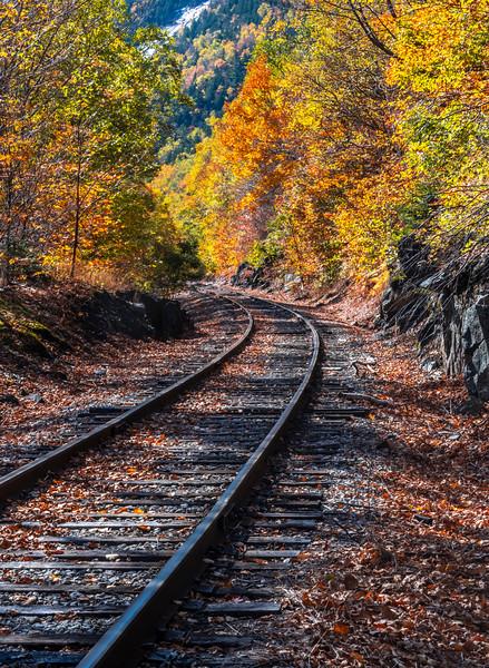 Autumn Foliage Around Train Tracks In The White Mountains, NH 10/5/20