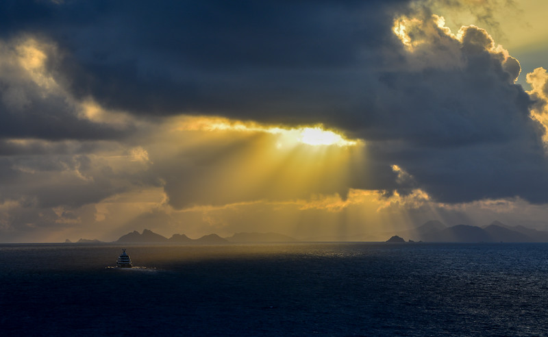 Sun Rays Breaking Through the Clouds at Sunrise, Caribbean
