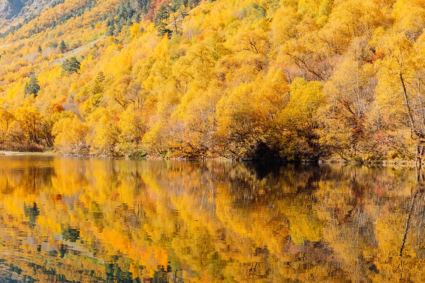Mountain lake with reflection and colorful trees. Autumn landscape