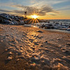 Sunrise Over Icy Beach, Belmar, NJ