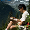 Reading outdoors - extreme travel