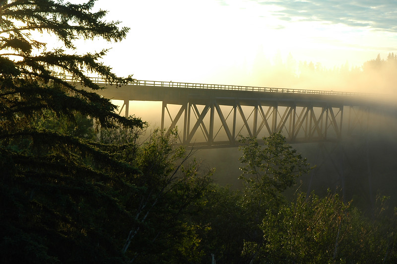 Bridge at sunrise or sunset dusk or dawn fog - Nature Stock Image by Professional Nature Photographer Christina Craft