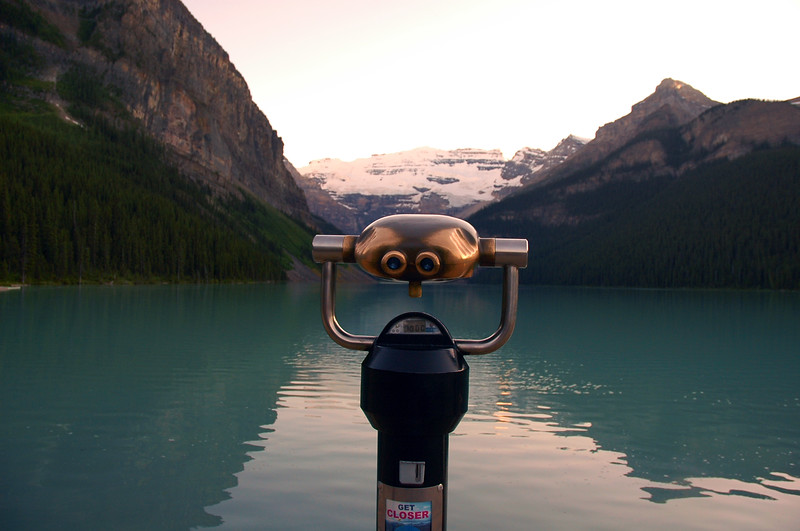 Tourism at Lake Louise in the Rockies - Banff National Park - Rocky Mountain landscape mountains scenic landscape - Photograph by professional nature stock photographer Christina Craft