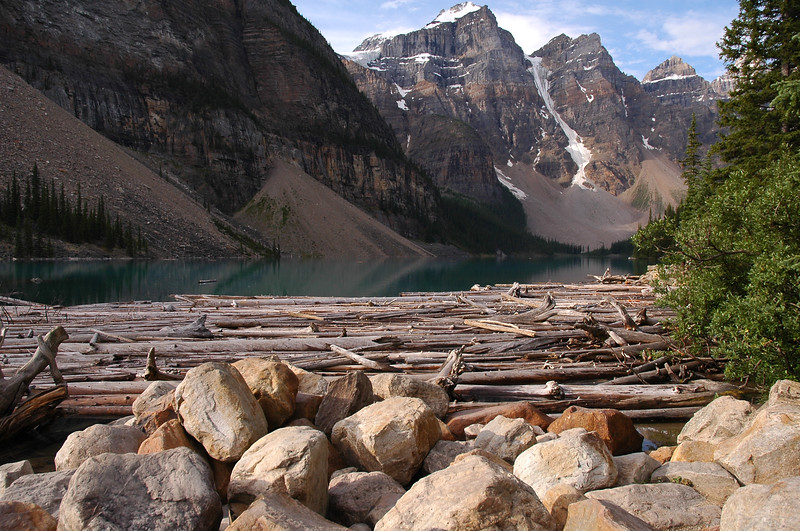 Moraine Lake Rocky Mountain landscape mountains scenic landscape - Photograph by professional nature stock photographer Christina Craft
