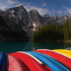 Moraine Lake in the rockies kayaks - Nature Stock Image by Professional Nature Photographer Christina Craft