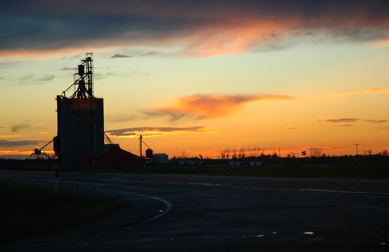 Silhouette of a silo on a farm in the prairies - Nature Stock Image by Professional Nature Photographer Christina Craft
