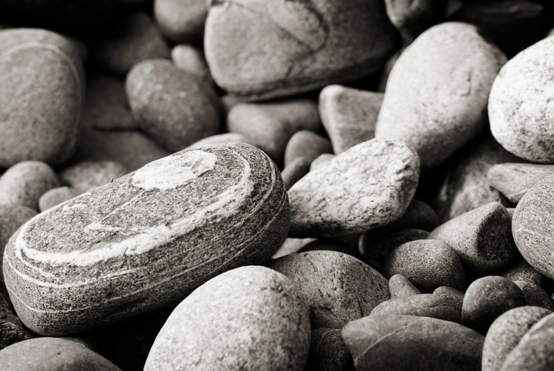Rocks and pebbles - colour fine art nature image - black and white treatment<br /> <br /> The Nature Stock Photography Library features rights managed and royalty free wildlife, nature, travel stock photography and licenses for stock photos. We also sell high quality fine art nature prints and photo products. All images are by professional wildlife and nature photographer Christina Craft.
