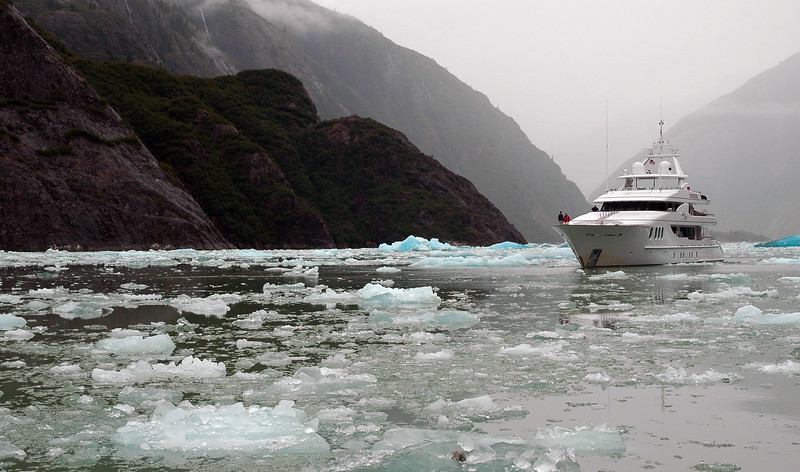 Remote landscapes - tourists enjoy a tour of glaciers