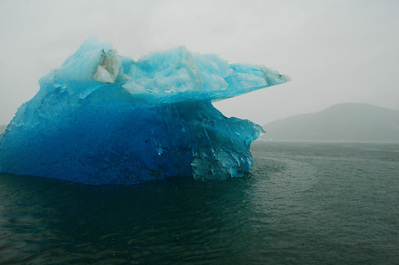 Blue Iceberg in the ocean near Tracy Arm Alaska near Juneau Stock Photo by Nature Photographer Christina Craft