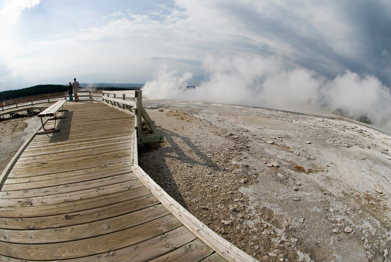 I took this shot in Yellowstone National Park. Every photographer in the world has taken pictures of the geysers and other interesting rock formations - but how many are taken with a fisheye. Using the fisheye adds drama to an otherwise kind of boring (and very typical) shot.