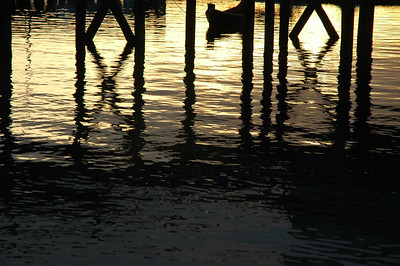 Reflections and silhouettes under a dock - Stock Photo by Nature Photographer Christina Craft