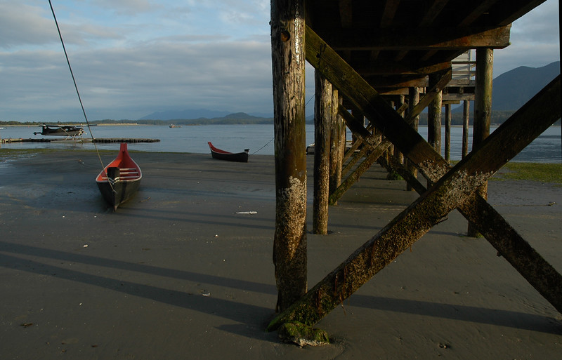 aboriginal canoes docked at low tide -  - Stock Photo by Nature Photographer Christina Craft