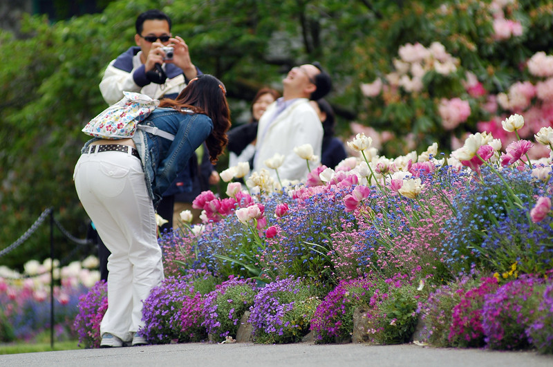 Tourists posing at Butchart Gardens - Nature Stock Image by Professional Nature Photographer Christina Craft