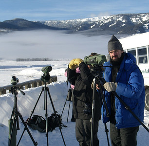 Nathan and Linda Seaman at viewing site, below zero temperatures!