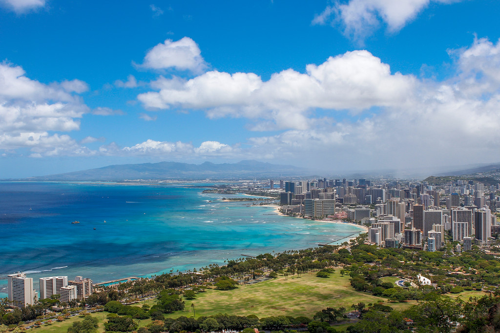 Honolulu skyline from diamond head peak