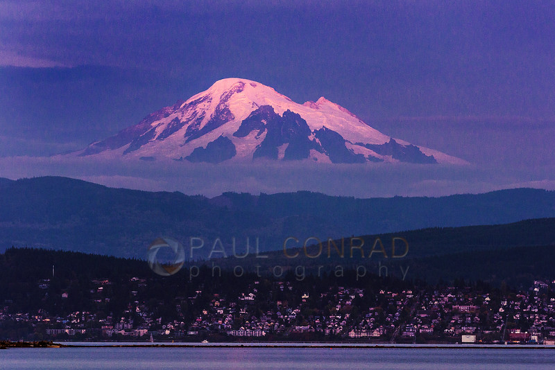 Last Light on Mount Baker - Mount Baker appears to loom over Bellingham and Western Washington University on Thursday evening Sept. 29, 2016, during sunset as seen from Lummi Shore Drive. (© Paul Conrad/Paul Conrad Photography)