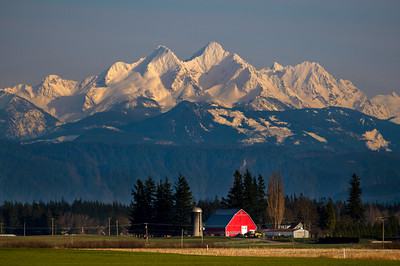 Twin Sisters Loom Over a Red Barn  - 0082