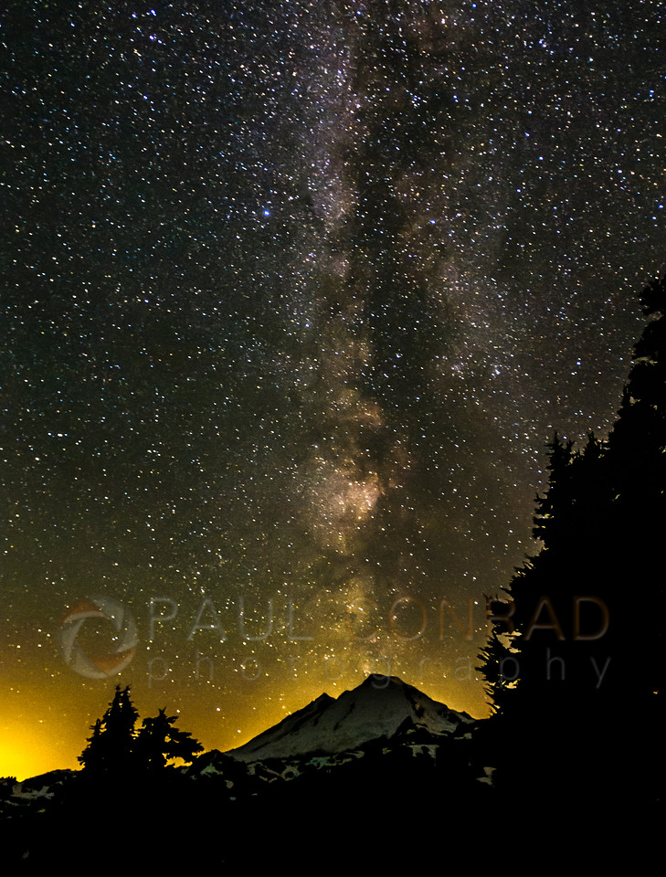 Milky Way & Mount Baker - The Milky Way over Mount Baker during Perseids Meteor Shower on Friday morning Aug. 8, 2016, as seen from Artist Point near Mount Baker Ski Area in Whatcom County, Wash., east of Bellingham. (© Paul Conrad/Paul Conrad Photography)