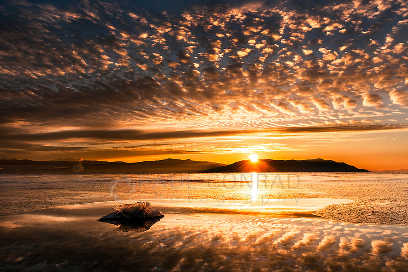 Sunrise Over Bellingham Bay - The Cascade Mountains from across Bellingham Bay along Lummi Shore Drive in Lummi Reservation, Wash. (© Paul Conrad/Paul Conrad Photography