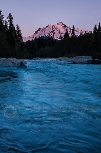 © Paul Conrad/Pablo Conrad Photography - The setting Sun lights Mount Shuksan in alpenglow.